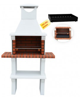 MODENA MASONRY BBQ GRILL BARBECUE IN WHITE