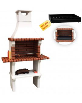 FLORIDA CHARCOAL BARBECUE WITH 2 SIDE TABLES